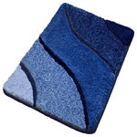 Luxury Bathroom Rugs, Blue Bath Rugs, Extra Large - Plush oversized blue bathroom rug with multi-level pile. Our extra large blue bathroom rug has a modern wave design with a range of blue tones and a non-slip / non-skid backing. Machine wash warm, dry in dryer. Made in Germany. Perfect for your bathroom!