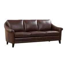 Sienna Genuine Leather Midcentury Modern Sofa