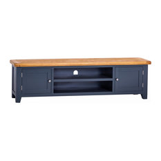 Padstow Painted Oak TV Unit, Blue, Extra Large