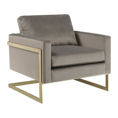 Modern Gold Frame Accent Chair in Gray