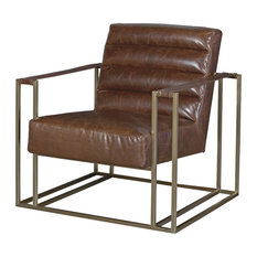 Jensen Accent Chair, Brown Leather