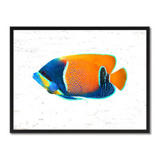 "Orange Tropical Fish Painting, 28""x37"""