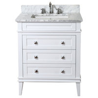 "Eleanor Bathroom Vanity, White, 30"", Carrara Marble Top"