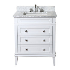 Bathroom vanities 30 inch Rounded Front Bathroom Kitchen Bath Collection Eleanor Bathroom Vanity With Carrara Top White 30 Houzz 30inch Bathroom Vanities Houzz