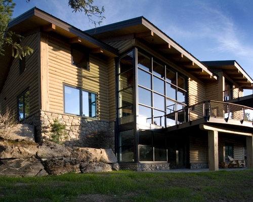 Concrete log siding home design ideas renovations photos for Concrete log home plans