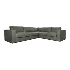 Contemporary London Sectional Sofa In White Performance Fabric Grey