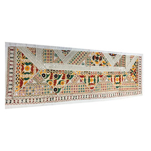 Mogul Interior - Consigned Antique Fabric, Sari White Mirrorwork Embroidered Tapestry - Table Runners