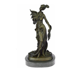 Real Bronze Metal Stone Statue Classical Victorian Woman Lady Feather Sculpture