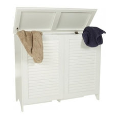 - White Wooden Laundry Hamper Double - Hampers