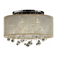 "18""W Drum Shaded Beaded Crystal Flush Mount Silhouette"