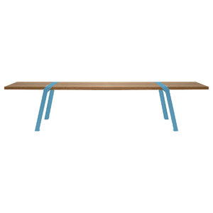 Solid Oak and Steel Dining Bench, Blue Steel, Large