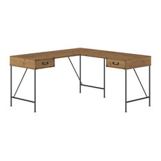Kathy Ireland Home Ironworks 60W L Shaped Desk With Drawers