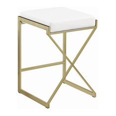 25-inch Modern Upholstered Counter Height Stool With Faux Leather Padded Seat White
