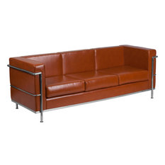 Hercules Regal Series Contemporary LeatherSoft Sofa with Encasing Frame, Cognac