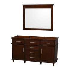 """Single Vanity, Dark Chestnut With No Top and No Sink and 44"""" Mirror, 59"""""""