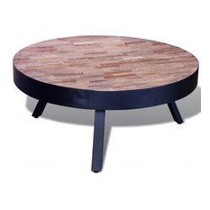 vidaXL Teak Wood Coffee Table Round Reclaimed Coffee Side Table Living Room