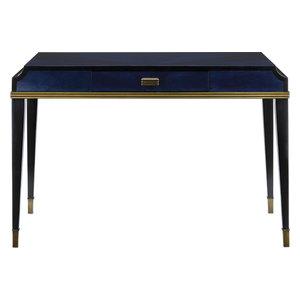 Kallista Writing Desk - Dark Sapphire, Caviar Black, Antique Brass