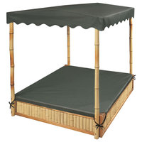 Tropical Fun Bamboo Sandbox With Canopy and Cover, Natural/Green
