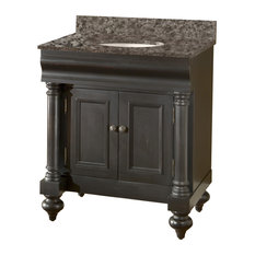 Guild Hall Vanity With Sherwin Williams Finish & Blanco Granite Top, Black, 30""