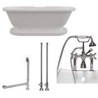 """Acrylic Double Ended Pedestal Bathtub 60""""x30"""", 7"""" Drillings PC Package"""