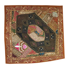 MogulInterior - Decorative Throw Cushion Indian Patchwork Embroidered Sequin Beaded Pillow Color - Decorative Pillows
