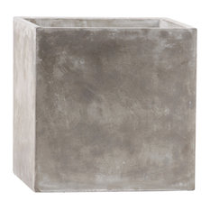 Cement Square Pot With Smooth Design Body, Natural Finish, Light Gray