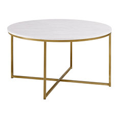 Crossed Legs Coffee Table, Marble and Gold