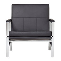 Studio Designs Home   Atlas Bonded Leather Lounge Chair, Black   Armchairs  And Accent Chairs