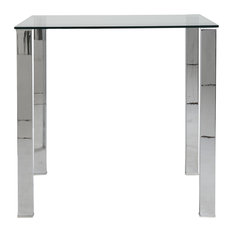 Euro Style - Euro Style Beth Collection Stainless Steel Coffee Table in Clear/Stainless Steel - Coffee Tables