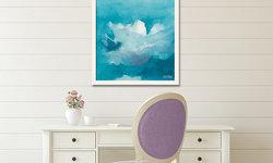 Peaceful + Pretty Writing Room with Blue Sky Framed Art
