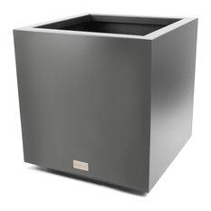 Metallic Series Cube Planter, Gray, Small