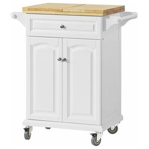 Modern Serving Trolley Cart, Solid Pine Wood With 1-Drawer and 1-Cabinet