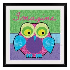 """""""Imagine Owl"""" Black Framed Art Print, 38""""x38""""x1"""""""
