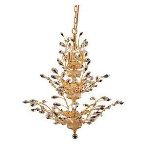Elegant Orchid 13-Light Gold Chandelier Clear Spectra Swarovski