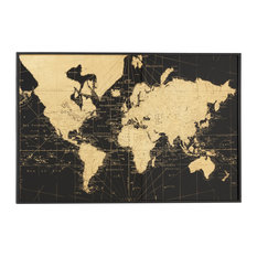 Large, Rectangular Black & Gold Vintage World Map Wall Decor