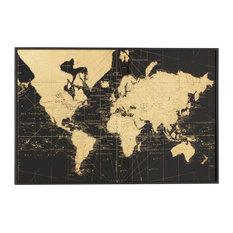 Large, Rectangular Black & Gold Vintage World Map Wall Decor