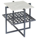 Go Home - Rawlins Side Table - Woven iron on one layer, and smooth, white marble on another - you will love the Rawlins Side Table by Go Home next to any sofa in your home!