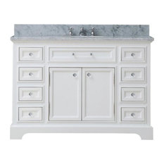 Alegra Carrara Marble White Bathroom Vanity, Without Mirror, Without Faucet, 48""
