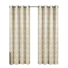 "Aryanna Set of 2 Jacquard Floral Curtains, Beige, 108""x96"""