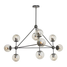 Galileo 10-Light Chandelier, Black With Cognac Glass