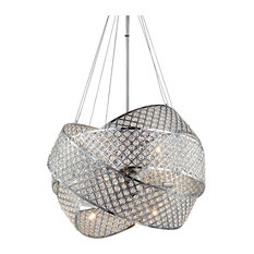 Chrome Triple Ring Clear Crystal Beaded Frame Light Fixture