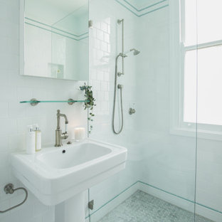 Inspiration for a small traditional 3/4 bathroom in Sydney with white cabinets, an open shower, a two-piece toilet, white tile, white walls, a pedestal sink, an open shower, a niche, a single vanity and a freestanding vanity.