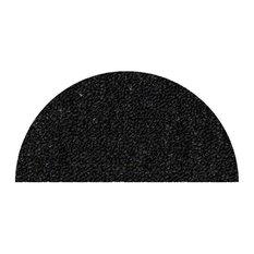 """Indoor Outdoor Commercial Half-Round Rugs, Black, 24""""x48"""" Halfround"""