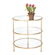 Etonnant Worlds Away   Worlds Away 3 Tier Table With Mirrored Shelves, Gold   Side