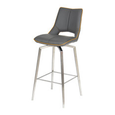 Aspen Faux Leather Swivel Bar Chair, Graphite Grey