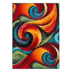 Susan Contemporary Abstract Multi-Color Rectangle Area Rug, 5' x 7'