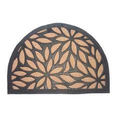Imports Decor Brown Petals Half Round Door Mat