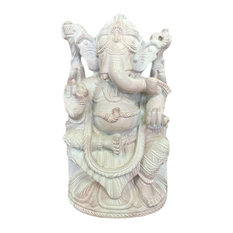 Mogulinterior - Hand-Carved Lord Ganesha Good Luck Stone Sculpture - Decorative Objects And Figurines