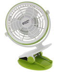 """Comfort Zone - 4"""" USB Desk Clip Fan, Green - Dual Power Operation: USB Powered & Battery Powered (4xAA Batteries). 360 degree adjustability to any angle! Use anywhere, with or without a computer! Compact and adjustable base for desktop use. Strong clip for use in work & hobby areas. Use in car with car adaptor (sold separately) . Perfect for campus libraries and study areas . Single Speed Setting with LED power indicator. Works with 5v AC adaptor (not included)."""