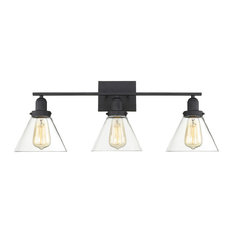 Drake 3 Light Bathroom Vanity Light in Black
